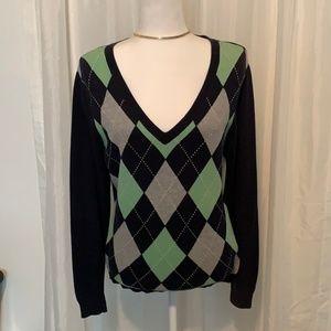 IZOD V neck Blue Long Sleeve Sweater Medium
